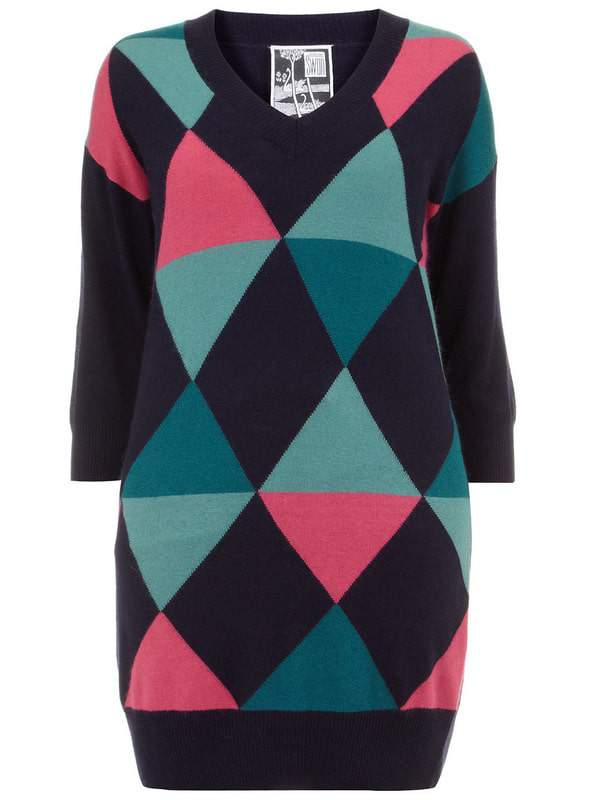 harlequin-diamond-knitted-dress-by-clements-ribeiro-swan-Plus Size Sweater Dress on The Curvy Fashionista