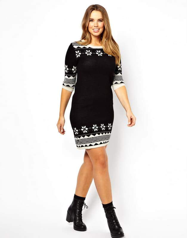 knitted-swing-dress-in-fairisle-print-Plus Size Sweater Dress on The Curvy Fashionista