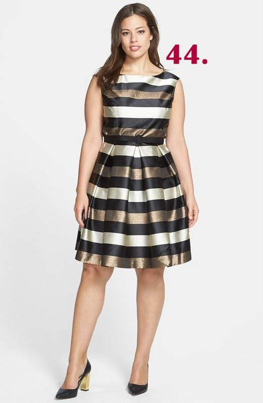 stripe-metallic-fit-flare-dress