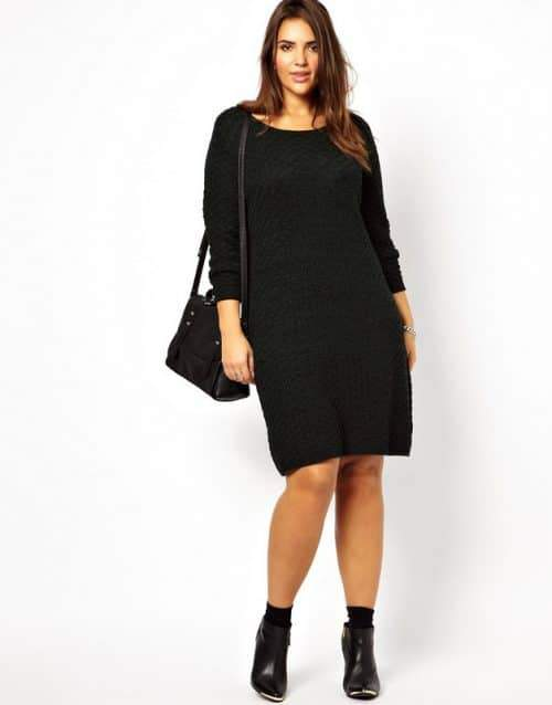 sweater-dress-in-textured-knit-Plus Size Sweater Dress on The Curvy Fashionista