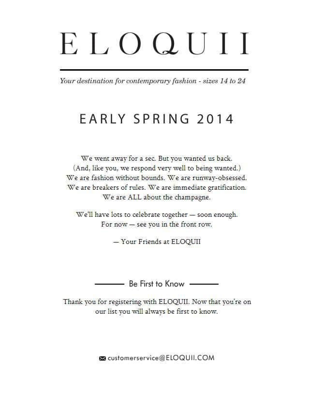 Plus Size Brand ELOQUII Returns This Spring 2014