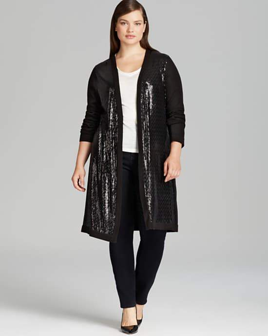 calvin-klein-sequin-cardigan-Plus Size Cardigans on The Curvy Fashionista