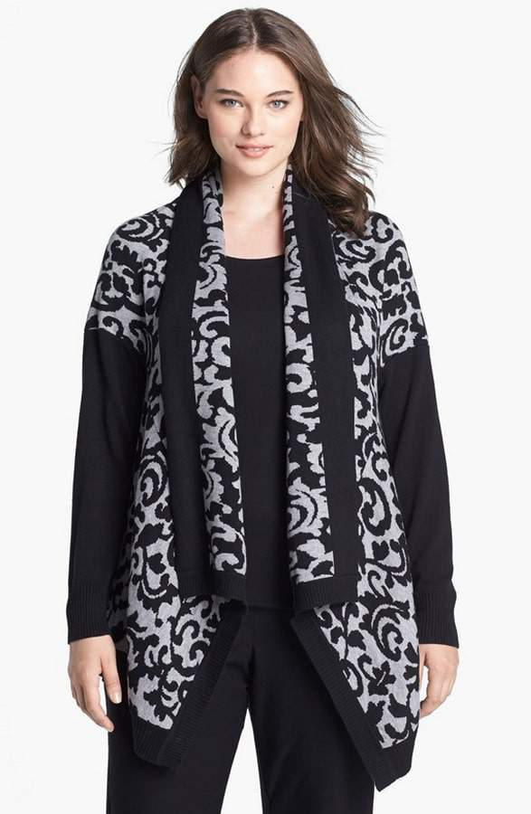 dknyc-patterned-open-cardigan-Plus Size Cardigans on The Curvy Fashionista