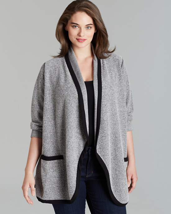 three-dots-plus-terry-open-jacket-Plus Size Cardigans on The Curvy Fashionista