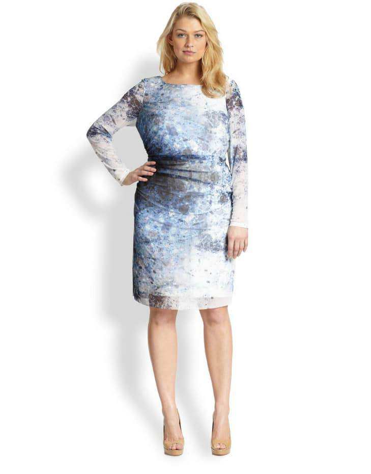 Kay Unger Plus Size Digital Print Dress