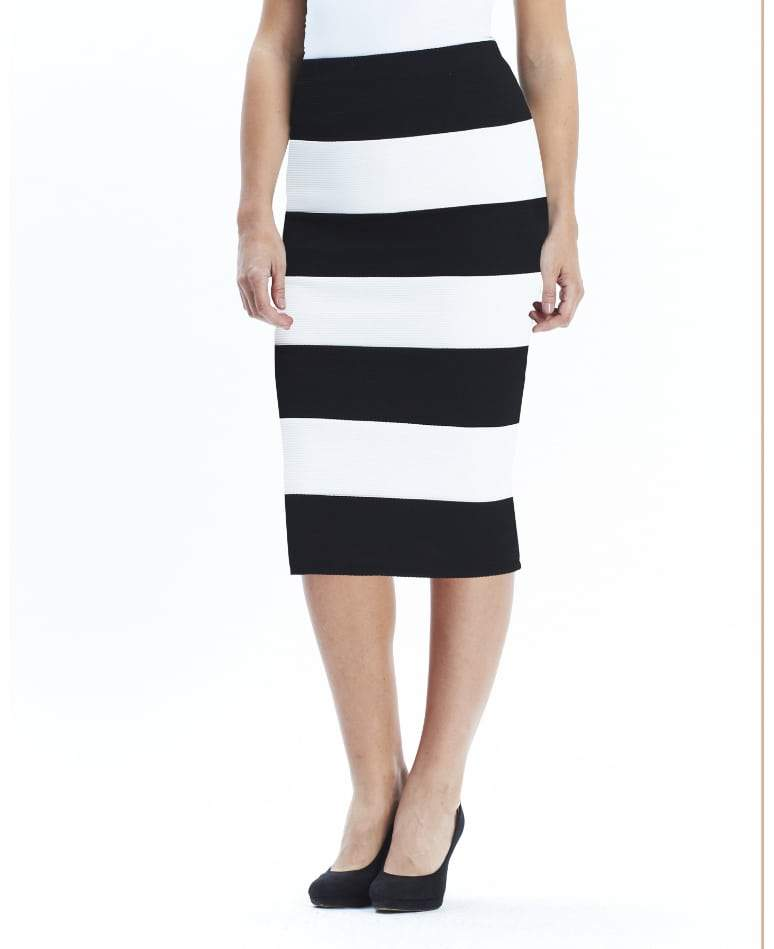 Black and White Striped Midi Skirt from Simply Be on The Curvy Fashionsta