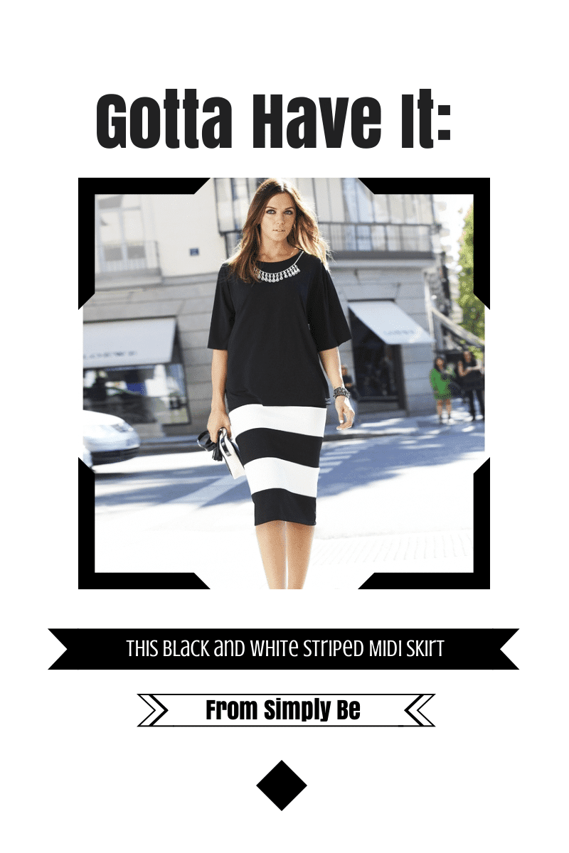 black and white striped skirt from Simply be