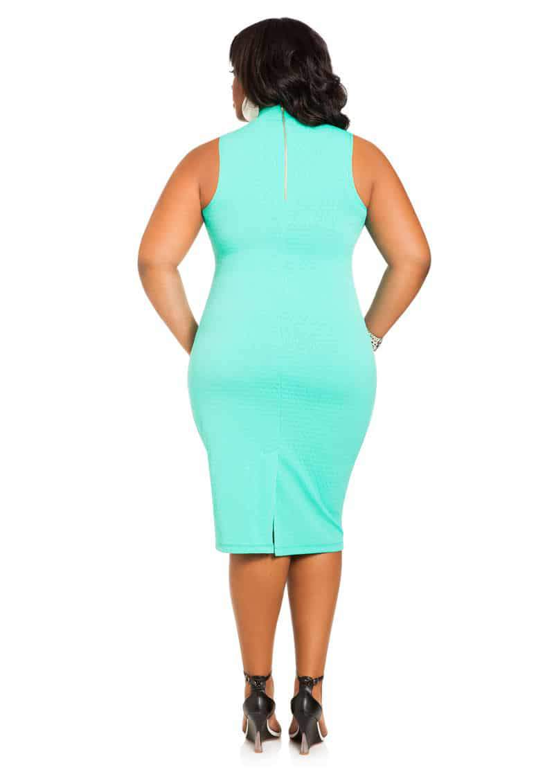 Ashley Stewart Textured Peekaboo Midi Dress on The Curvy Fashionista