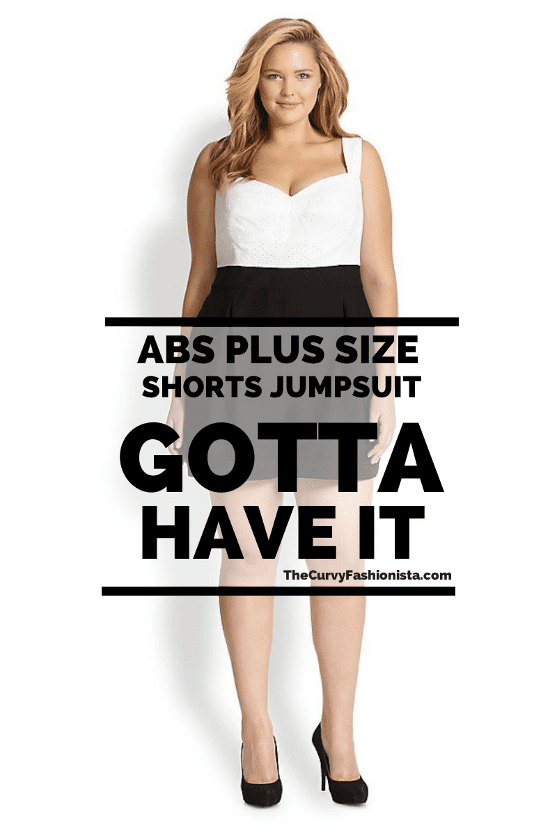 ABS Plus Size Eyelet Shorts Jumpsuit on The Curvy Fashionista