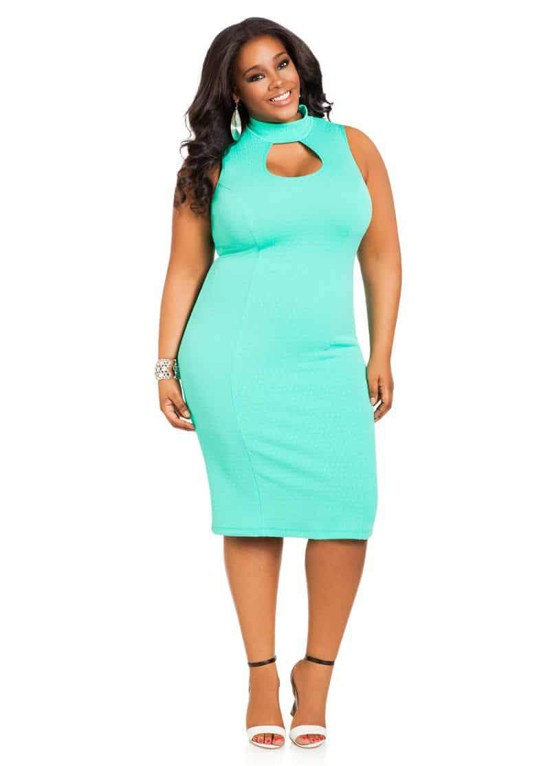 Ashley Stewart Textured Peekaboo Midi Dress on The Curvy Fashionista