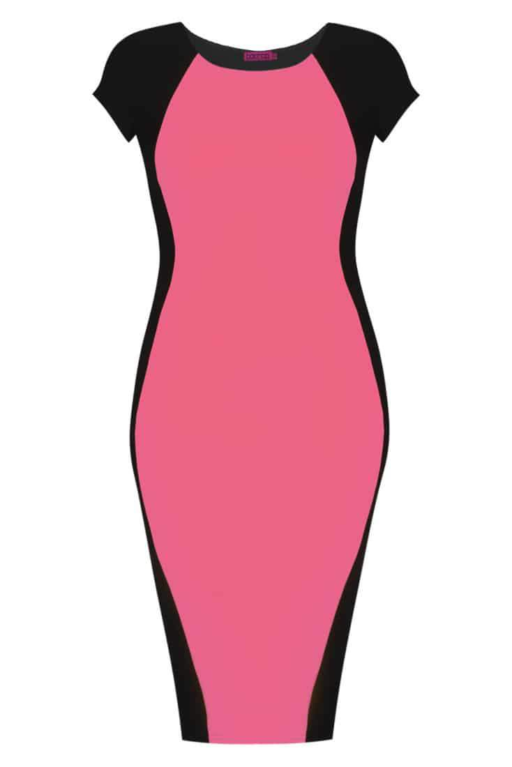 BooHoo Plus Sizes Collection on The Curvy Fashionista-Black and pink dress
