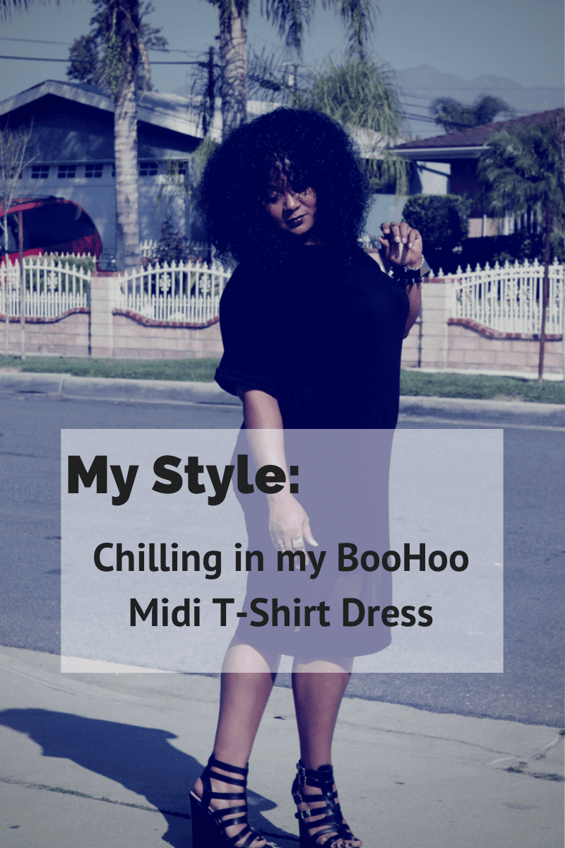 My Style: Chilling in my BooHoo Plus Size Midi T-Shirt Dress