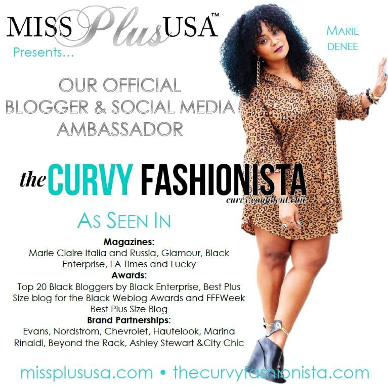 Social Media Ambassador Marie Denee for The Miss and Teen Plus USA Pageant!