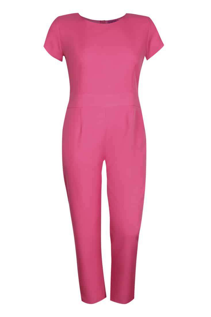 BooHoo Plus Sizes Collection on The Curvy Fashionista- Pink jumpsuit