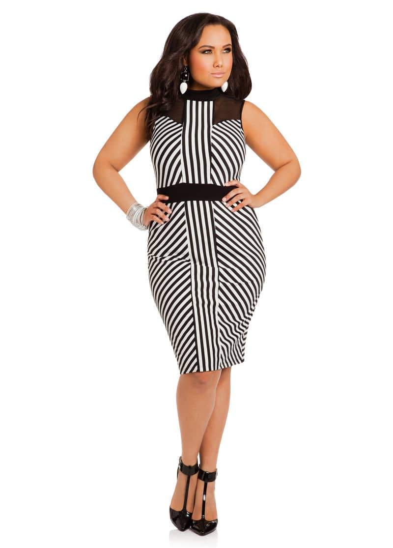 Ashley Stewart Black and White Striped Mock Turtleneck Dress