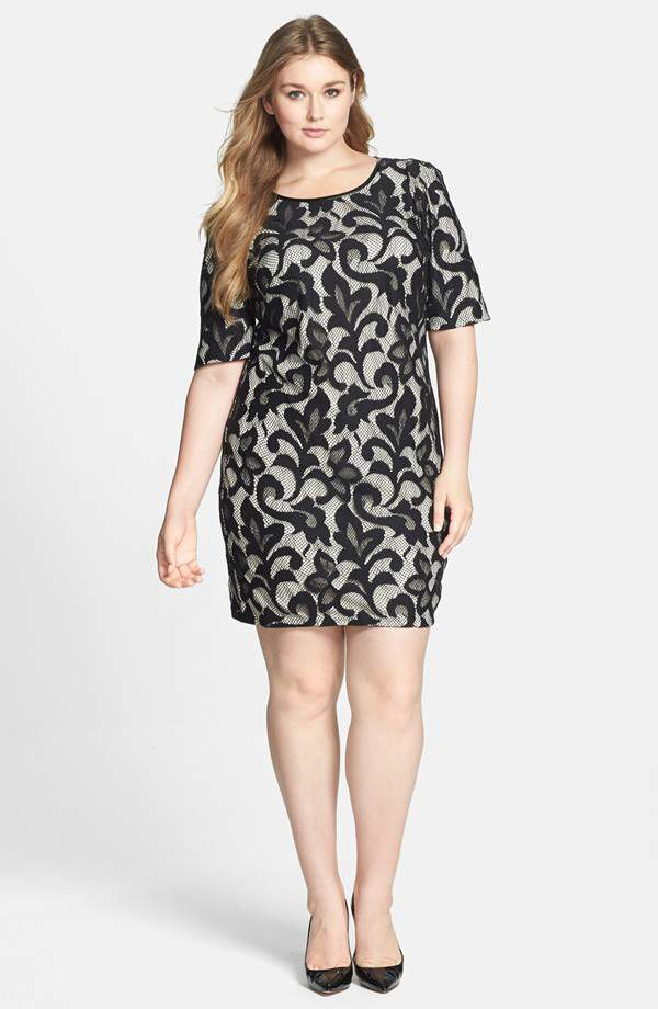 Donna Ricco Plus Size Lace Overlay Sheath Dress