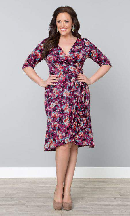 Flirty Flounce Wrap Dress at Kiyonna- Plus Size Floral Dresses on The Curvy Fashionista