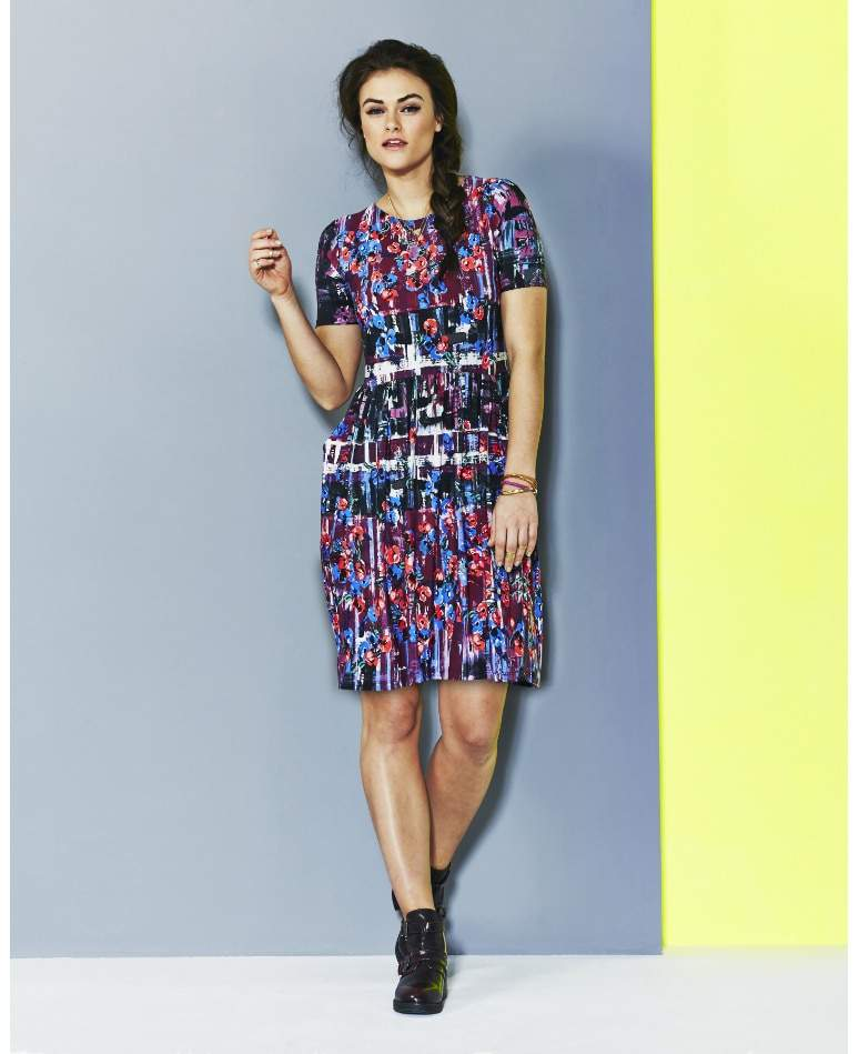 MULTI FLORAL DAY DRESS WITH 3/4 SLEEVES by Simply Be-Plus Size Floral Dresses on The Curvy Fashionista