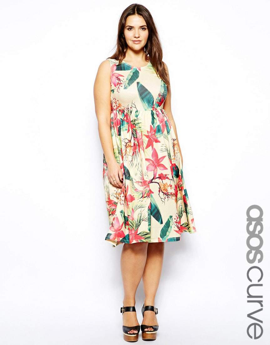Midi Dress In Tropical Floral Print by ASOS Curve- Plus Size Floral Dresses on The Curvy Fashionista