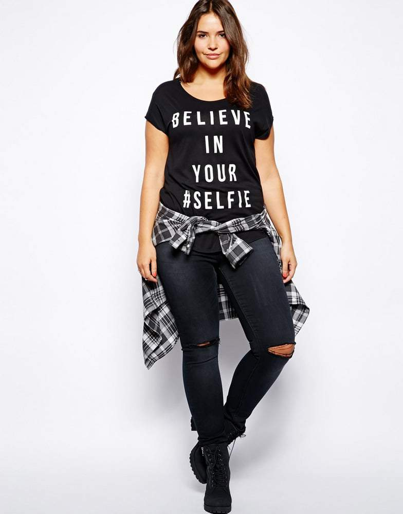 New Look Inspire Believe In Your Selfie Tee on The Curvy Fashionista