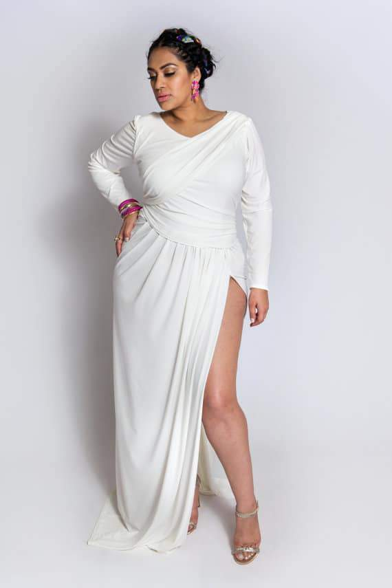 Youtheary Khmer Plus Size High Slit Drape Gown