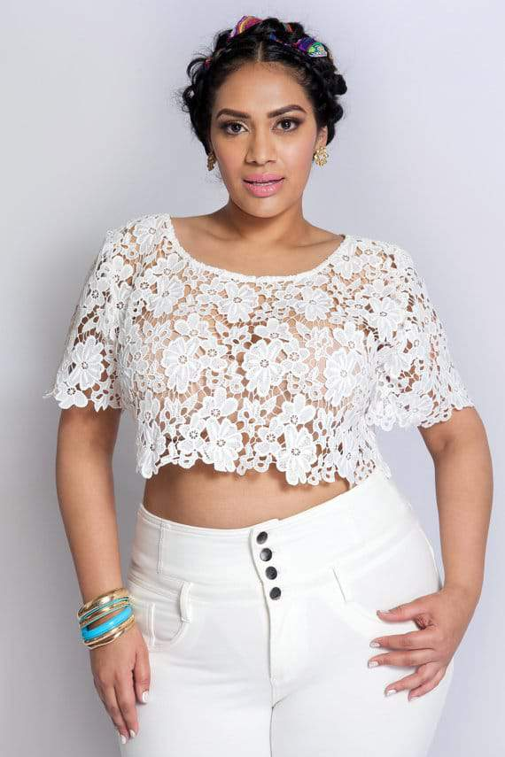 Youtheary Khmer Plus Size Lace Crop Top