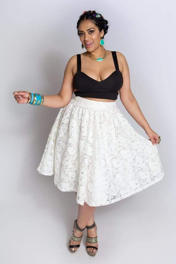 Youtheary Khmer Plus Size Lace Skater Skirt