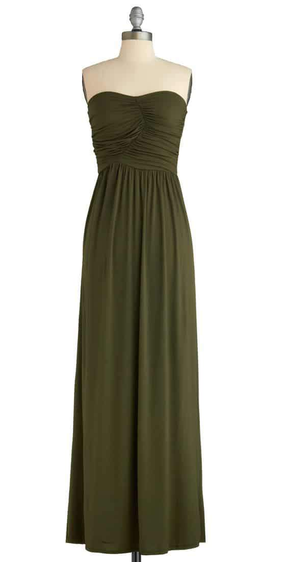 Always and For Evergreen Dress in Moss by ModCloth- Plus Size Maxi Dresses on The Curvy Fashionista