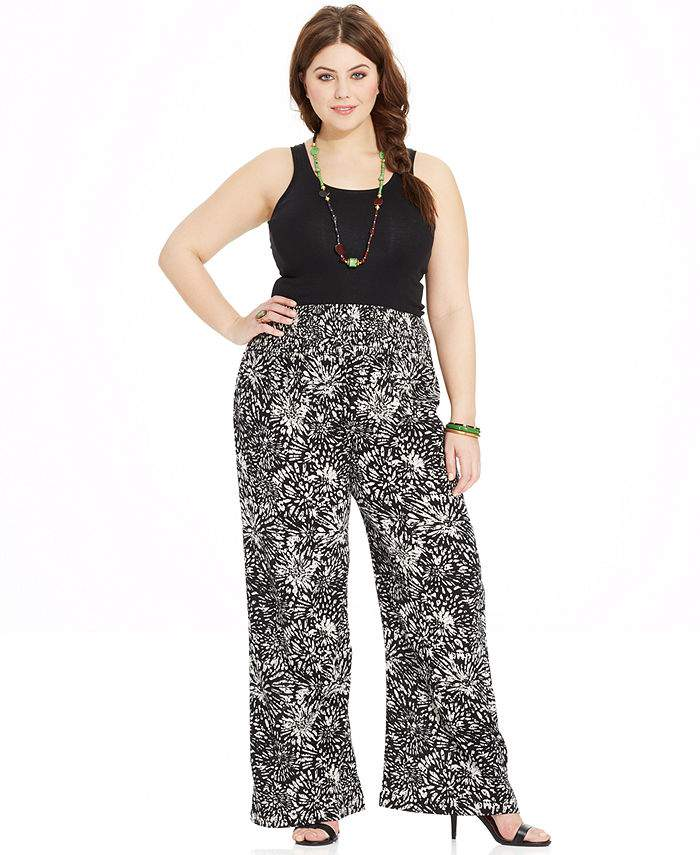 American Rag Plus Size Printed Wide-Leg Pants