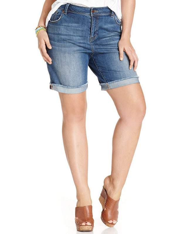 Americana Cuffed Denim Shorts by Lucky Brand Plus Size