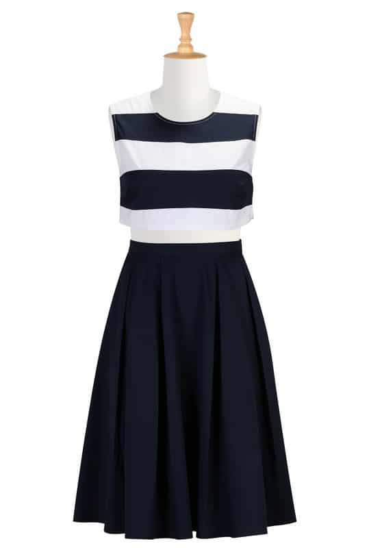 Banded stripe crop top and poplin skirt at eshakti