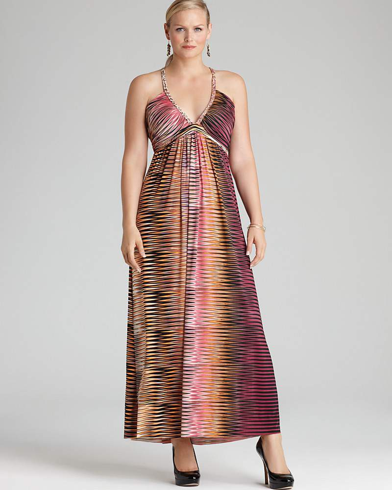 Braided Halter Printed Maxi Dress by Tbags Los Angeles Plus- Plus Size Maxi Dresses on The Curvy Fashionista