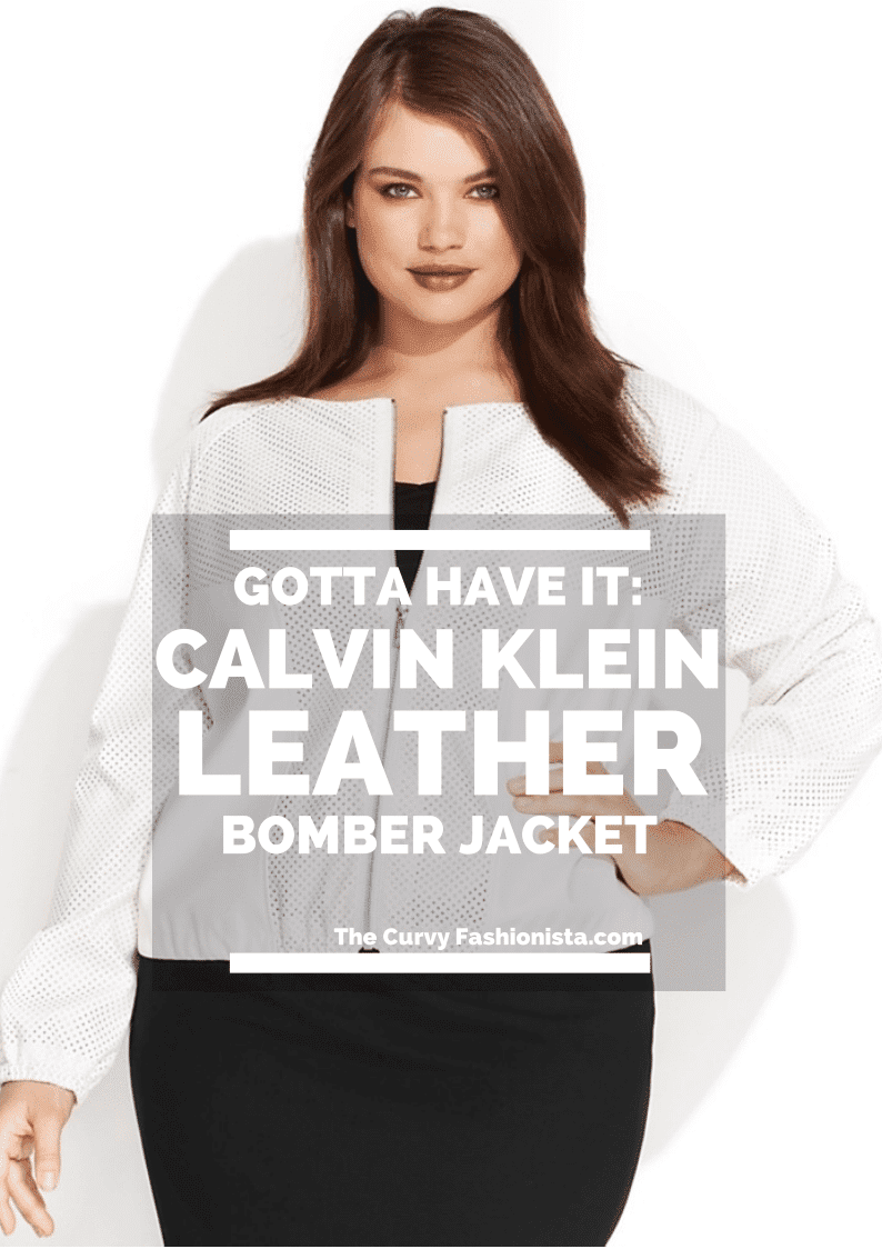 Calvin Klein Plus Size Faux-Leather Bomber Jacket on The Curvy Fashionista