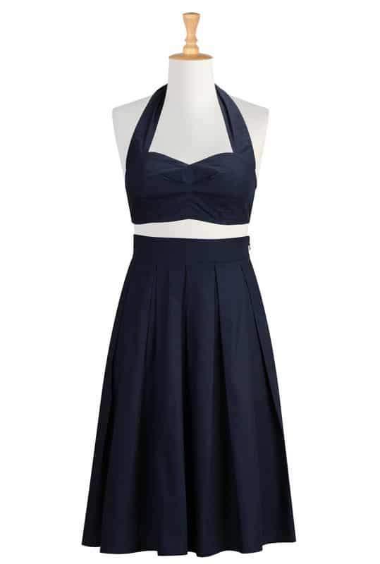 Cotton poplin halter bralette and skirt in Navy at eShakti