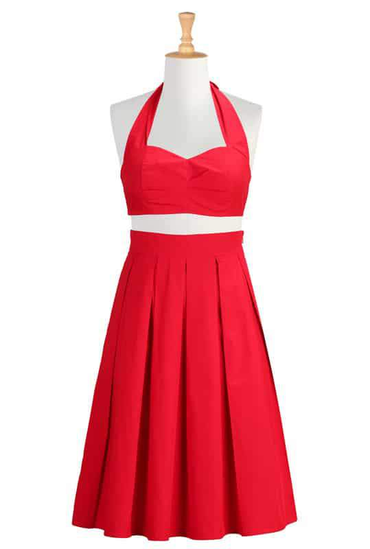 Cotton poplin halter bralette and skirt in Red by eShakti