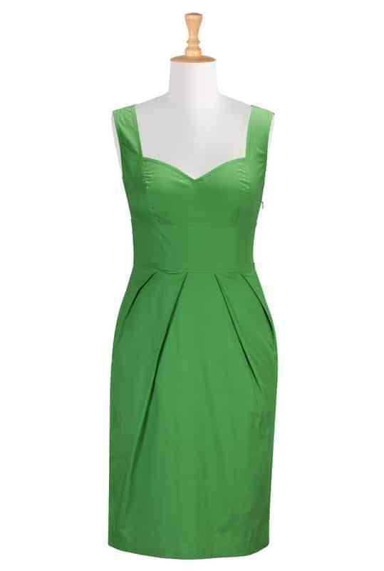 Cotton poplin sheath dress in green at eshakti