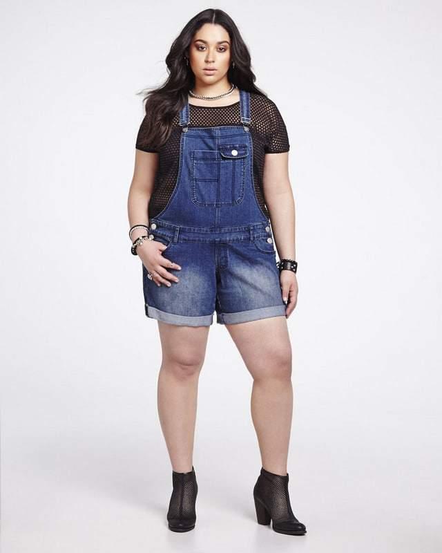 Denim short overalls by Addition Elle