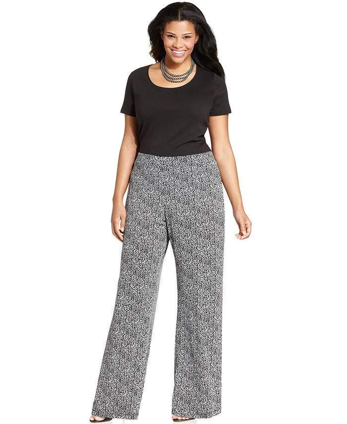 53c54c81ba0 A black crop would be perfect match to these Elementz Plus Size Printed  Wide-Leg Soft Pants · Lauren Ralph Lauren Plus Size Paisley-Print Palazzo  Pants
