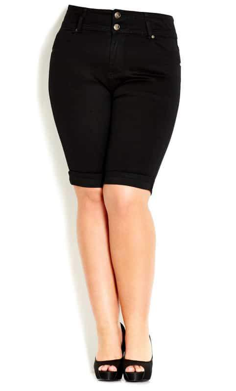 Hourglass TDF Black Shorts at City Chic