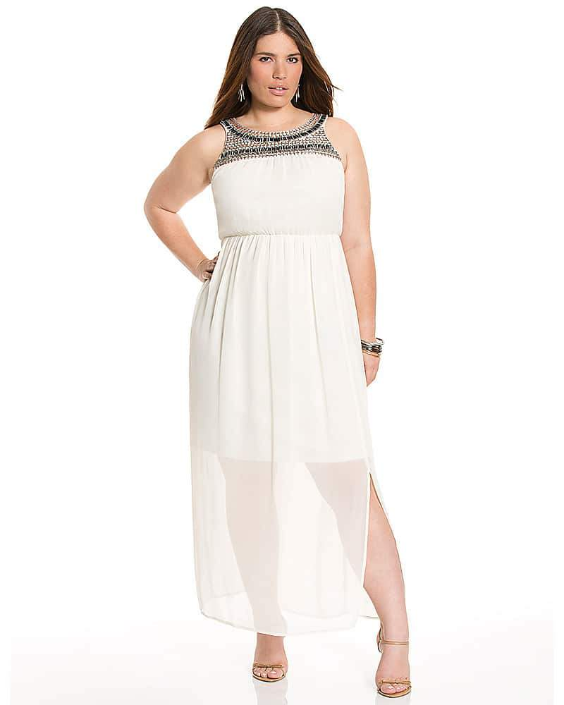Lane Bryant EMBELLISHED CHIFFON MAXI DRESS