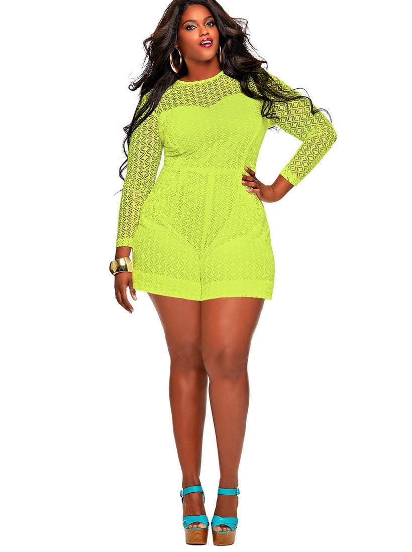 MARTA CROCHET LACE Plus Size ROMPER-YELLOW