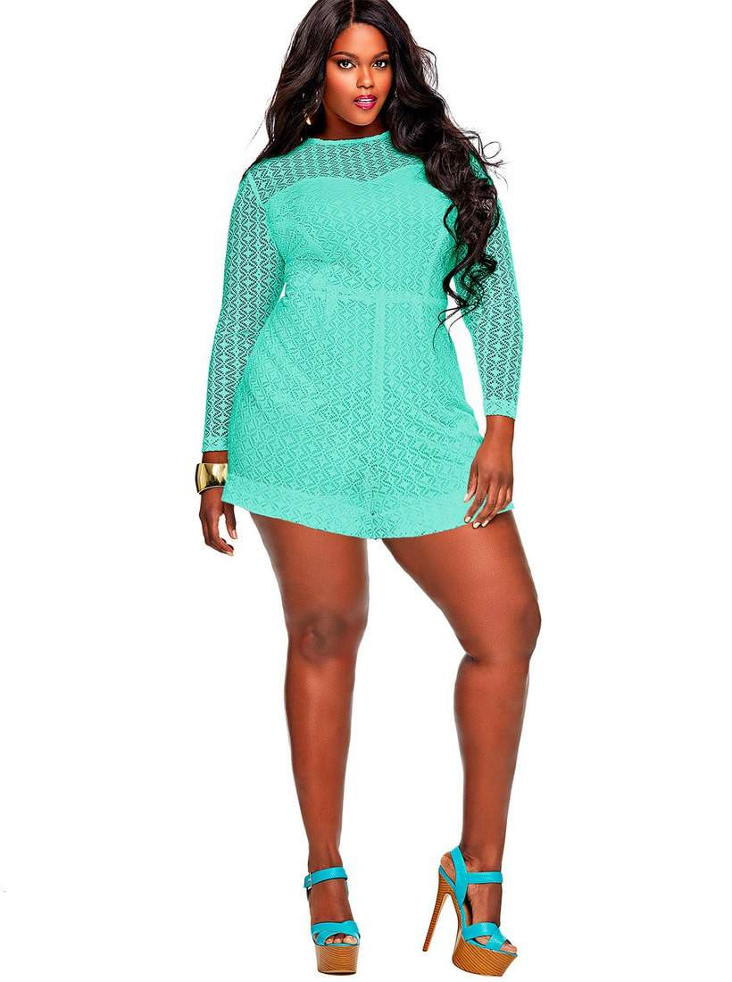 MARTA CROCHET LACE plus size ROMPER-mint