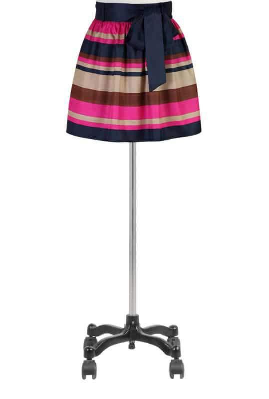 Sash waist satin stripe skirt at eshakti