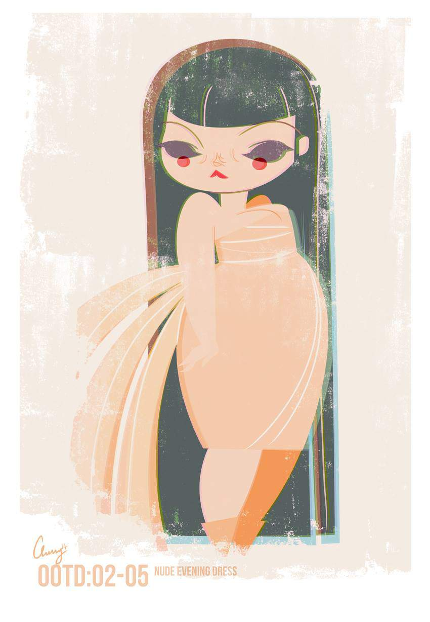 Plus Size Art: Cherry from Studio Killers OOTD-Nude vintage evening gown