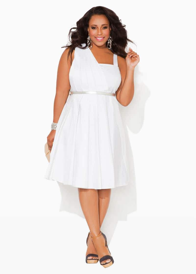 Ashley Stewart PLEATED ONE-SHOULDER BELTED DRESS