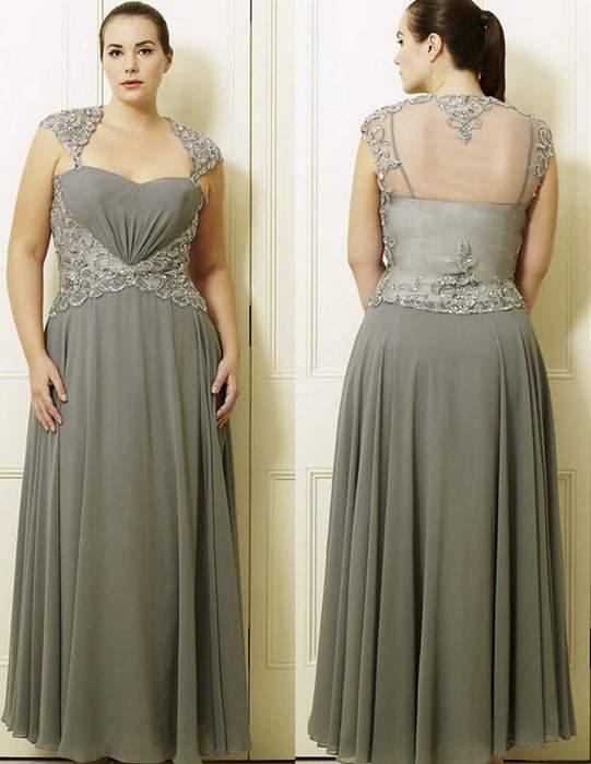 Francine's Dark Silver Plus Size Long Dress by Viviana