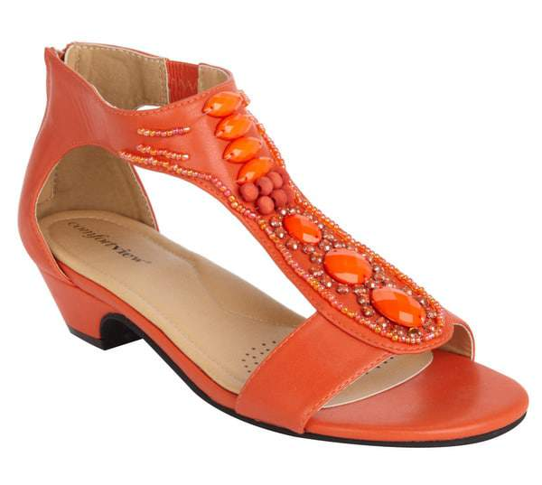 Hayley Beaded Wide Width Sandal by Comfortview at One Stop Plus