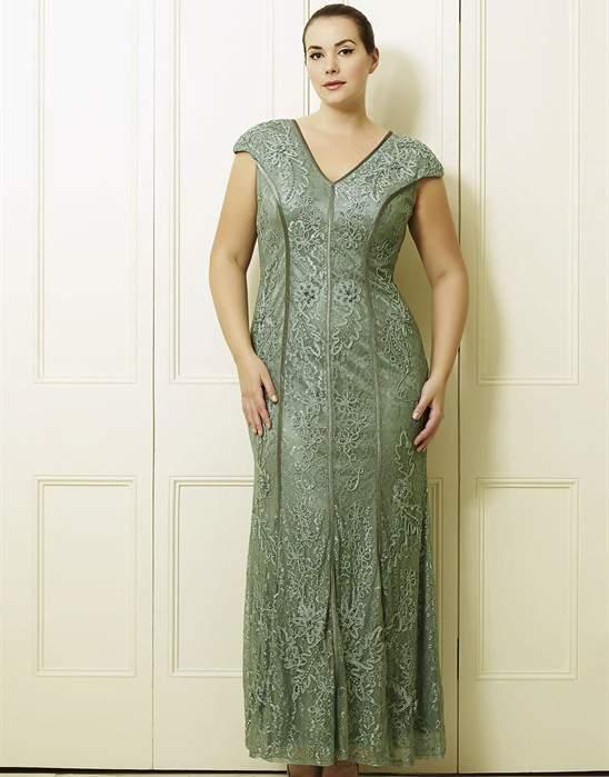 Sharla's Soft Teal Plus Size Long Dress by Viviana