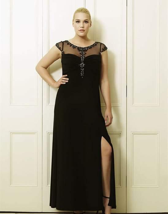 Lucia's Black Plus Size Long Dress by Viviana