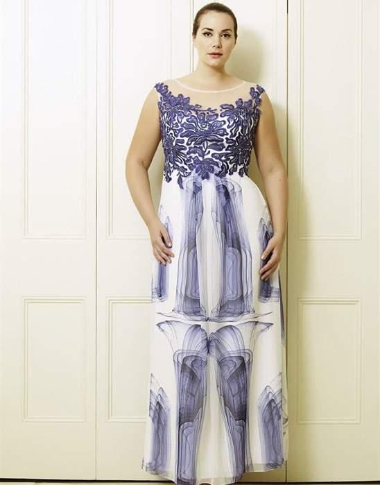 Yvette's Blue Print Plus Size Long Dress by Viviana